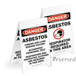 Asbestos & Respirator Required Reversible Fold-Ups Floor Sign