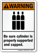 Warning (ANSI) Be Sure Cylinder Supported Sign