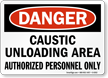 Danger Caustic Unloading Area Sign