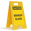 Caution Broken Glass Free-Standing Sign
