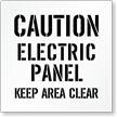 Caution, Electric Panel, Keep Clear Floor Stencil