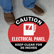 CAUTION - Electrical Panel, Circle Floor Sign (Red)