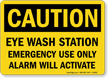 Caution Eye Wash Station Sign