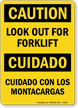 Caution Forklift Bilingual Sign
