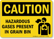 Caution, Hazardous Gases Present In Grain Bin Sign