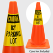 Caution Icy Parking Lot Cone Collar