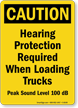 Caution Loading Trucks Protection Sign