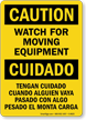 Bilingual Caution Moving Equipment Sign