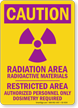 Caution Radiation Area Radioactive Material Warning Sign