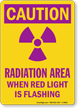 Caution Radiation Area When Red Light Flashing Sign