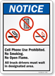 Cell Phone, Smoking, Open Flames Prohibited Sign