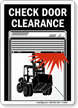 Check Door Clearance Sign