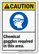 Chemical Goggles Required In This Area Sign