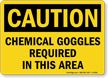 Caution Chemical Goggles Required Sign