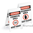 Danger Chemical Spill Reversible Fold-Ups Floor Sign