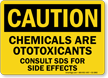 Chemicals Are Otoxicants Consult SDS Files Caution Sign