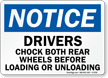 Drivers Chock both Rear Wheels Loading/Unloading Sign