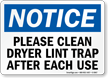 Clean Dryer Lint Trap After Use Sign