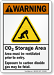 CO2 Storage Area, Ventilate Area Warning Sign