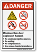 Combustible Dust Explosion Hazard No Smoking Welding Sign