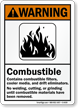 ANSI Warning Combustible Sign