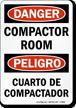 Bilingual Compactor Room / Cuarto De Compactador Sign