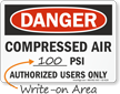 Compressed Air Authorized Users Only OSHA Danger Sign