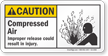 Compressed Air ANSI Caution Sign