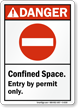 Confined Space Entry By Permit Danger Sign