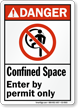 Confined Space Enter By Permit Only Sign
