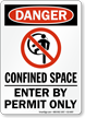 Confined Space Enter By Permit Only Danger Sign