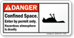 Confined Space Entry By Permit Only, Hazardous Sign