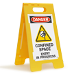 Confined Space Entry In Progress Floor Standing Sign
