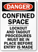 Confined Space Lockout and Tagout Procedures Sign