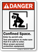 Confined Space, Enter By Permit, Test Atmosphere Sign