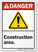 Construction Area ANSI Danger Sign With Graphic