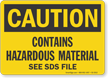 Contains Hazardous Material OSHA Caution Sign