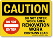 Renovation Work Contains Lead OSHA Caution Sign