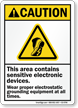 Area Contains Sensitive Electronic Devices Caution Sign