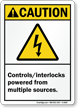 Controls Interlocks Powered From Multiple Sources Caution Sign