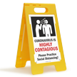 Highly Contageous Please Practice Social Distancing FloorBoss XL™ Floor Sign