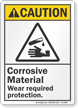 Corrosive Materials ANSI Caution Sign