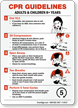 CPR Guidelines Adults Children 8+ Years Sign