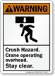 Crane Operating Overhead Crush Hazard Sign