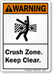 Crush Zone Keep Clear ANSI Warning Sign