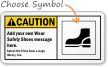 Custom Safety Shoes Caution (ANSI) Sign