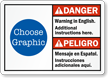Custom Bilingual ANSI Danger Peligro Warning Sign