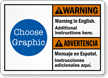 Custom Bilingual ANSI Warning Advertencia Sign
