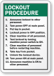 Custom Lockout Procedures Sign
