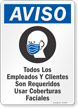 Customers Required To Wear Face Coverings Spanish Sign